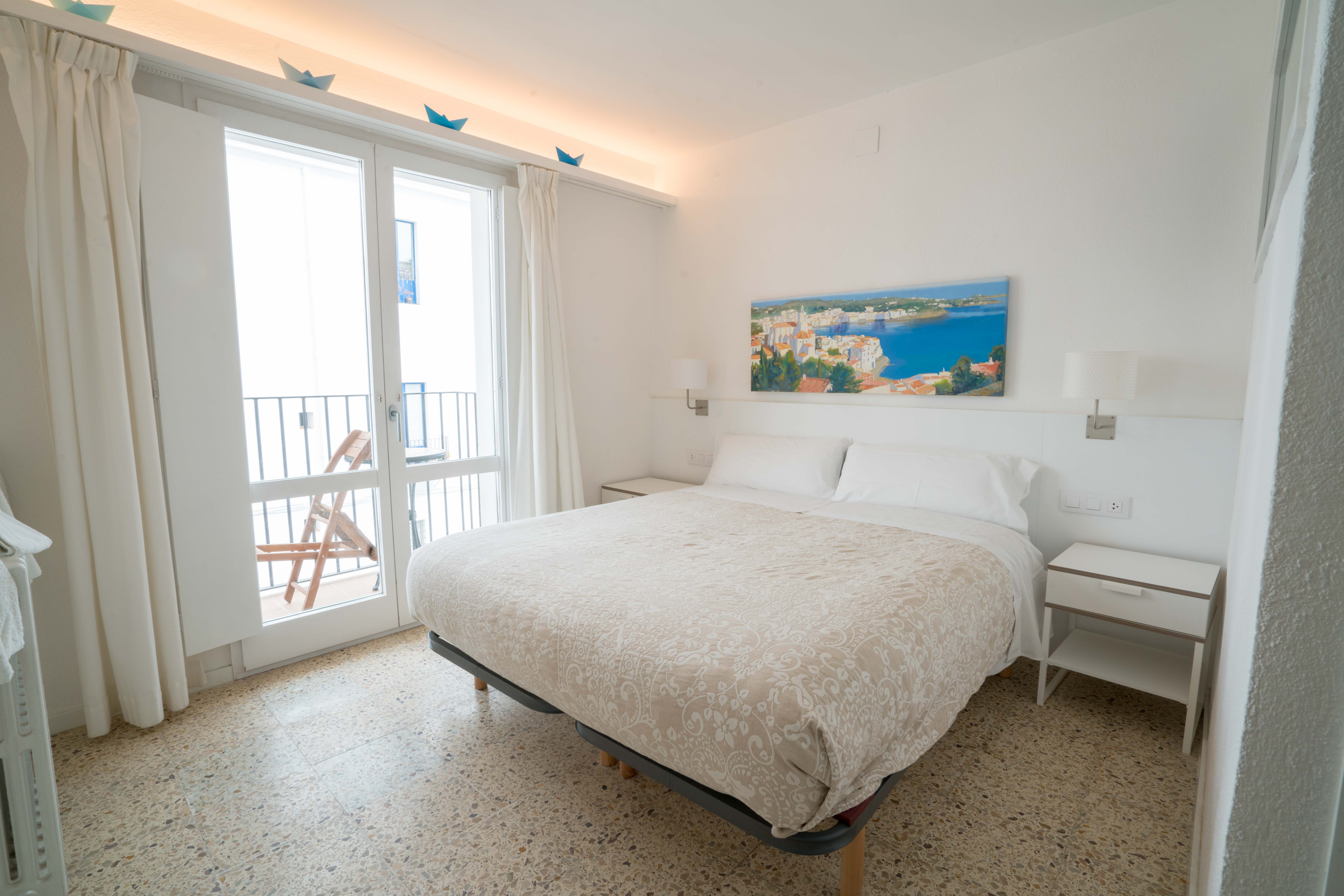 Room with balcony and side sea view